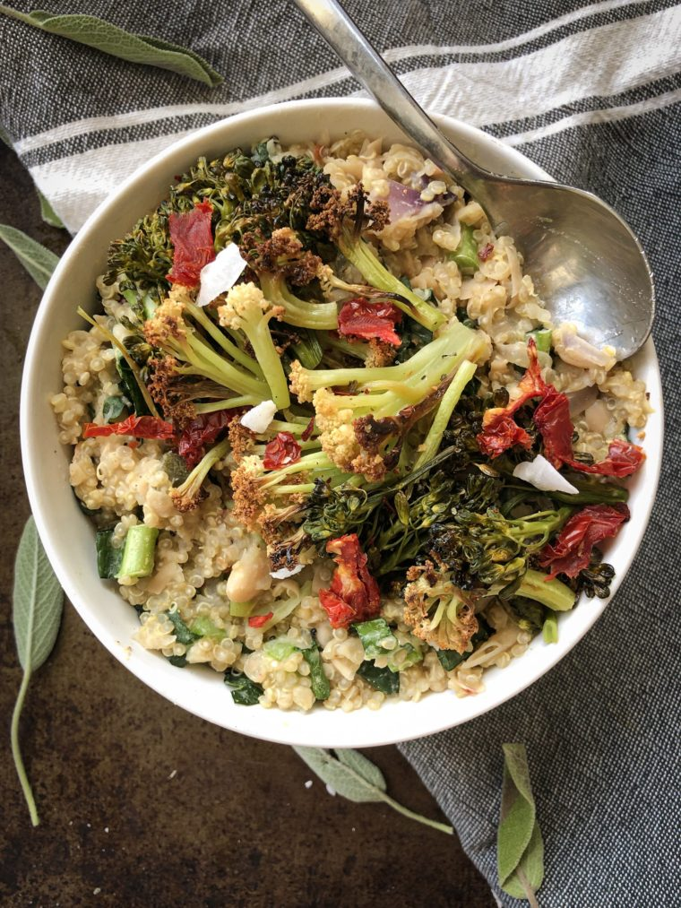 Creamy White Bean Quinoa Risotto with Roasted Broccoli is the perfect plant based main dish for any holiday feast. #thecuttingveg #eatrealfood #thanksgiving #vegandinner