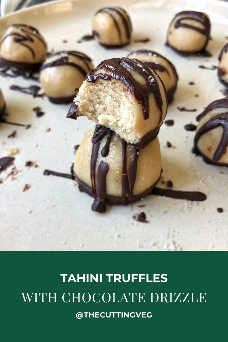 Tahini truffles with chocolate drizzle are the easiest 5 ingredient dessert you will ever made. Vegan and gluten free, these babies are just a bite of heaven on any cookie tray or table. #thecuttingveg #healthydesserts #vegandesserts