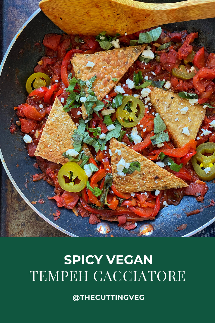 Spicy Vegan Tempeh Cacciatore tastes like your Italian grandma's with a vegan twist. Quick, easy, and so cozy, it is the perfect dinner for any weeknight. #thecuttingveg #eatrealfood #italianfood #plantbaseddinners