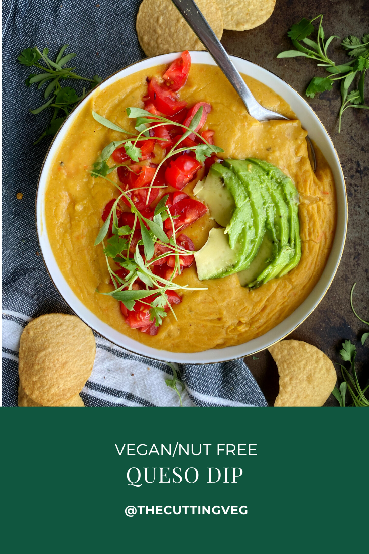 It's summertime and I'm ready to eat my weight in Vegan Queso Dip! Dairy and nut free, it comes together in 15 minutes and is the perfect addition to your summer party. Get on it! #thecuttingveg #summerparty #eatrealfood #queso #whatveganseat