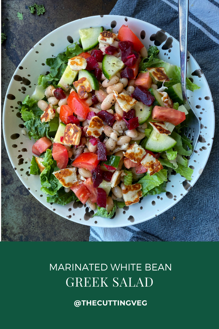 Marinated White Bean Greek Salad is the perfect no cook lunch or side dish that you need for your summertime. So good especially when you do not want to turn on your oven. #thecuttingveg #eatrealfood #nocook
