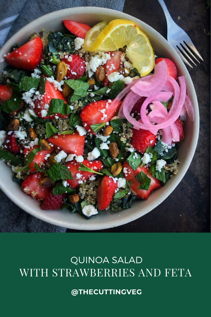 It's salad season! Huzzah. And this Quinoa Salad with salty feta and juicy sweet strawberries is sure to be a lunchtime or BBQ winner. You're going to love it for your next meal prep #thecuttingveg #eatrealfood #strawberry #quinoasalad
