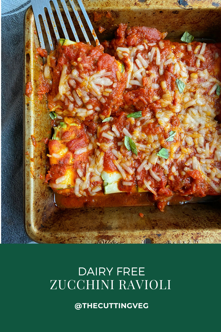 """If you are overwhelmed with all the zucchini, now look no further than these dairy free zucchini """"ravioli."""" Zucchini """"noodles"""" wrapped around a tofu ricotta filling and baked with tomato sauce make for a quick, delicious, and lighter dinner perfect for those who are dairy and gluten free. Have at it y'all! #thecuttingveg #eatrealfood #ravioli #plantbased"""